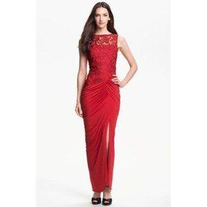 Jessica McClintock Illusion Yoke Slit Jersey Gown